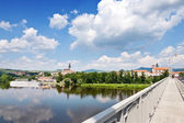 Elbe river, Virgin Mary Church, Litomerice, Bohemia region, Czech republic, Europe — Stock Photo