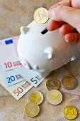 Euro banknotes and coins with piggy bank — Stock fotografie