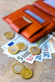 Euro money - banknotes and coins - in brown wallet — Stock Photo