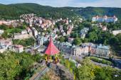Csar Peter the Great viewpoint - historic centre of spa town Kar — Stock Photo