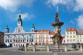 Main square and town hall, Ceske Budejovice, Czech republic — Stock Photo