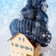 House in winter - heating system concept and cold snowy weather — Stock Photo #59703931