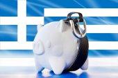 Greece - savings in piggy bank - tighten the belt — Stock Photo