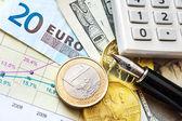 Доллар, европейская валюта и деньги на чешскую крону - обменный курс — Стоковое фото