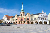 Main square with townhall, town Melnik, Czech republic — Stock Photo