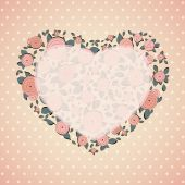 Vintage card. Roses in shape of a heart — Stock Vector