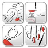 Vector red manicure icons — Stock Vector
