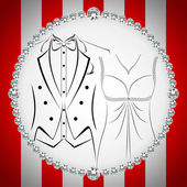 Stylish invitation or wedding card — Stock Vector