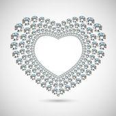 Vector shiny diamond heart on white background — Stock Vector