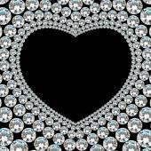 黒い背景に光沢のあるダイヤモンド ハート フレーム — ストックベクタ