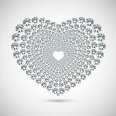 Shiny diamond heart on white background — Stock Photo