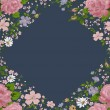 Beautiful pink roses frame on blue. Vector — Stock Vector #59098767