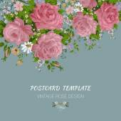 Invitation card with vintage roses. Postcard template — Vettoriale Stock