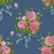 Seamless vintage rose pattern on navy background — Stock Vector #59142163