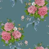 Wallpaper vintage rose pattern on navy background — Stock Vector