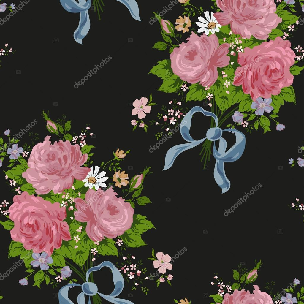 Vintage Rose Wallpaper Vector Wallpaper Vintage Rose Pattern