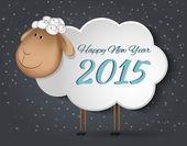 Greeting Card with sheep. Happy new year 2015. — Stockvektor