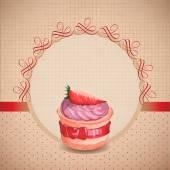 Винтажная открытка с кекс — Cтоковый вектор
