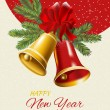 New Year postcard. Golden and red Christmas bells. Vector illustration. — Stock Vector #59659239