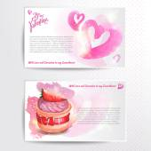 Happy valentines day and weeding cards. Watercolor background — Stock Vector
