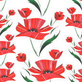 Flower watercolor pattern with poppies. Vector — Stock Vector