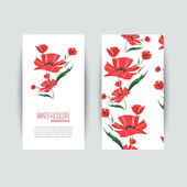 Invitation cards with a red poppy for your design. Watercolor vector — Stock Vector