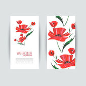 Brochure designs with red poppies. Watercolor vector — ストックベクタ