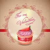 Vintage card with cupcake. Valentines Day card — Vector de stock