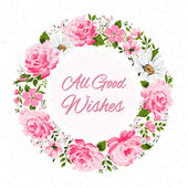 Border of flowers with all good wishes text. — Stock Vector