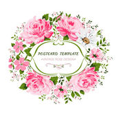 Εκλεκτής ποιότητας κάρτα με λουλούδια - rose, παιωνία, χαμομήλι. — Διανυσματικό Αρχείο