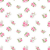 Seamless cute vintage rose flower pattern on white background — Stock Vector