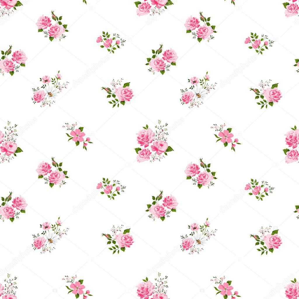 Patr 243 N De Flor Rosa Vintage Lindo Transparente Sobre Fondo