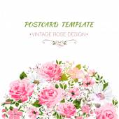 Vintage card with flowers- rose, peony, camomile — Stock Vector