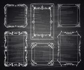 Set of chalk painted frames on a black chalkboard. Preform design. — Stock Vector
