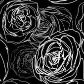 Seamless black rose pattern — Stock Vector