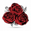 Red roses on white background. Vector illustration. — Stock Vector #65311451