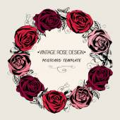 Floral wreath with red roses. Vintage greeting card — Vector de stock