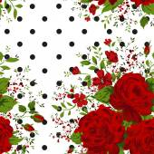 Seamless pattern with red roses on design background, vector illustration — Stock Vector