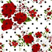 Seamless pattern with abstract red flowers. Vector illustration. — Stock Vector