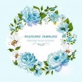 花薔薇、牡丹、カモミールとヴィンテージのカード。花の招待状 — ストックベクタ