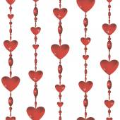 Seamless Valentine color background with red glass hearts — Stock Vector