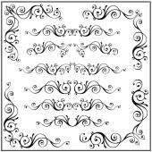 Curled calligraphic design frame corner elements. Vector set. — Cтоковый вектор