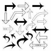 Jeu de flèches isolé sur blanc vectorielles — Vecteur