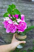 Marco floral con peonías rosas sobre fondo de madera — Foto de Stock