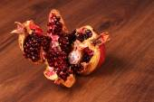 Red Pomegranate on The Wood — Stock Photo