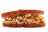 The pasta from bread on the white background — Stock Photo
