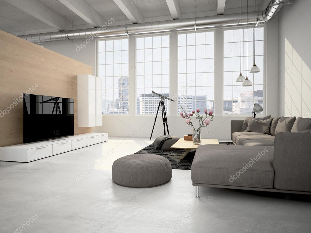 Woonkamer loft interieur 3d rendering stockfoto for Interieur loft