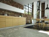 Loft kitchen in open space. 3d rendering — Stock Photo