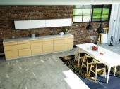 Loft kitchen in open space. 3d rendering — Foto Stock
