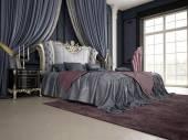 Interior of a classic style bedroom in luxury villa. 3d rendering — Stok fotoğraf